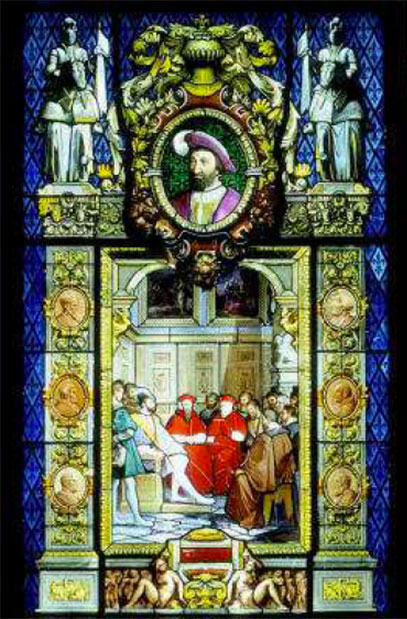 Vitrail exécuté par la manufacture de Sèvres pour une fenêtre du pavillon de l'Horloge au Louvres (1847)
