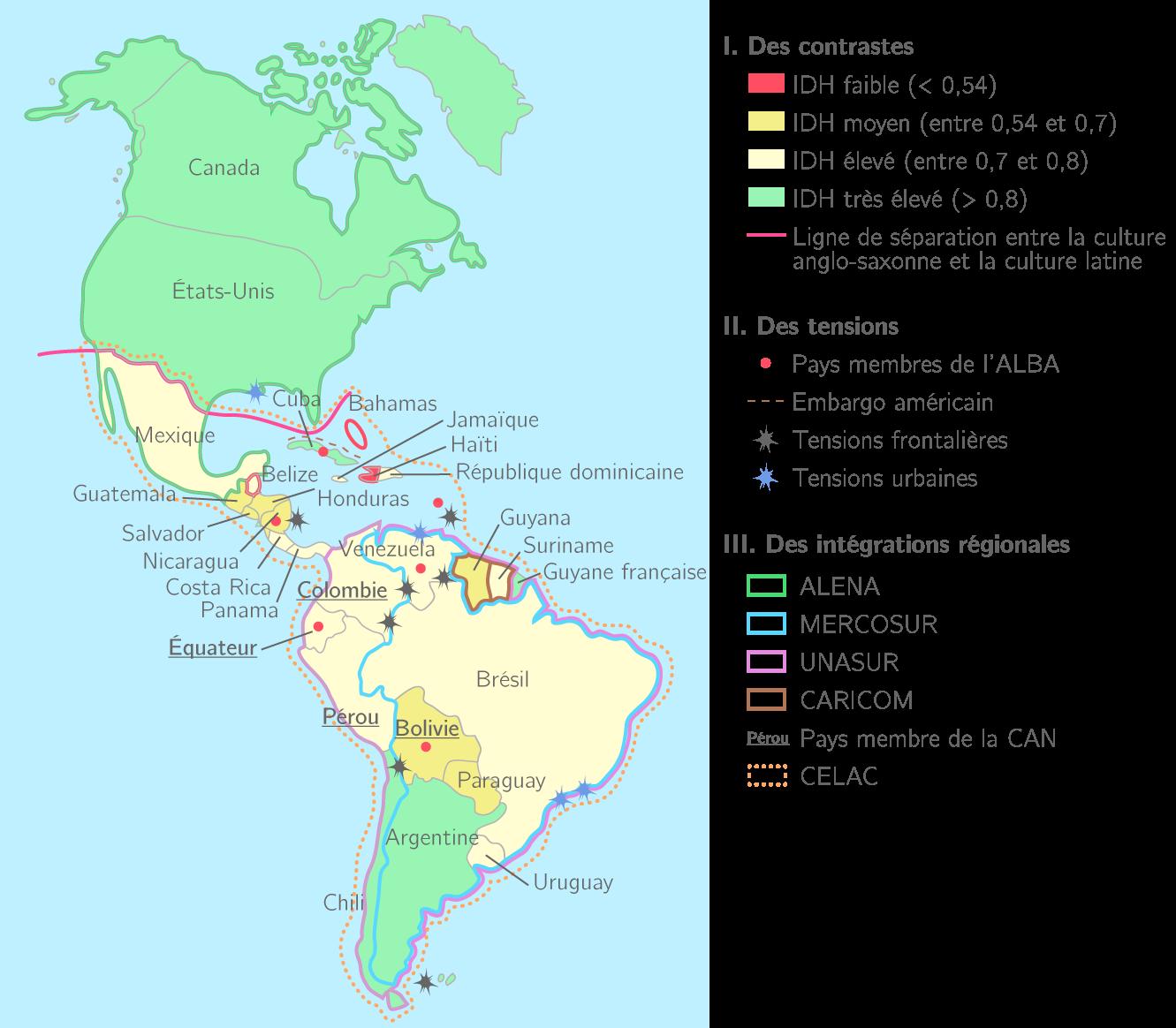 Carte Cuba Amerique.Le Continent Americain Entre Tensions Et Integrations Regionales