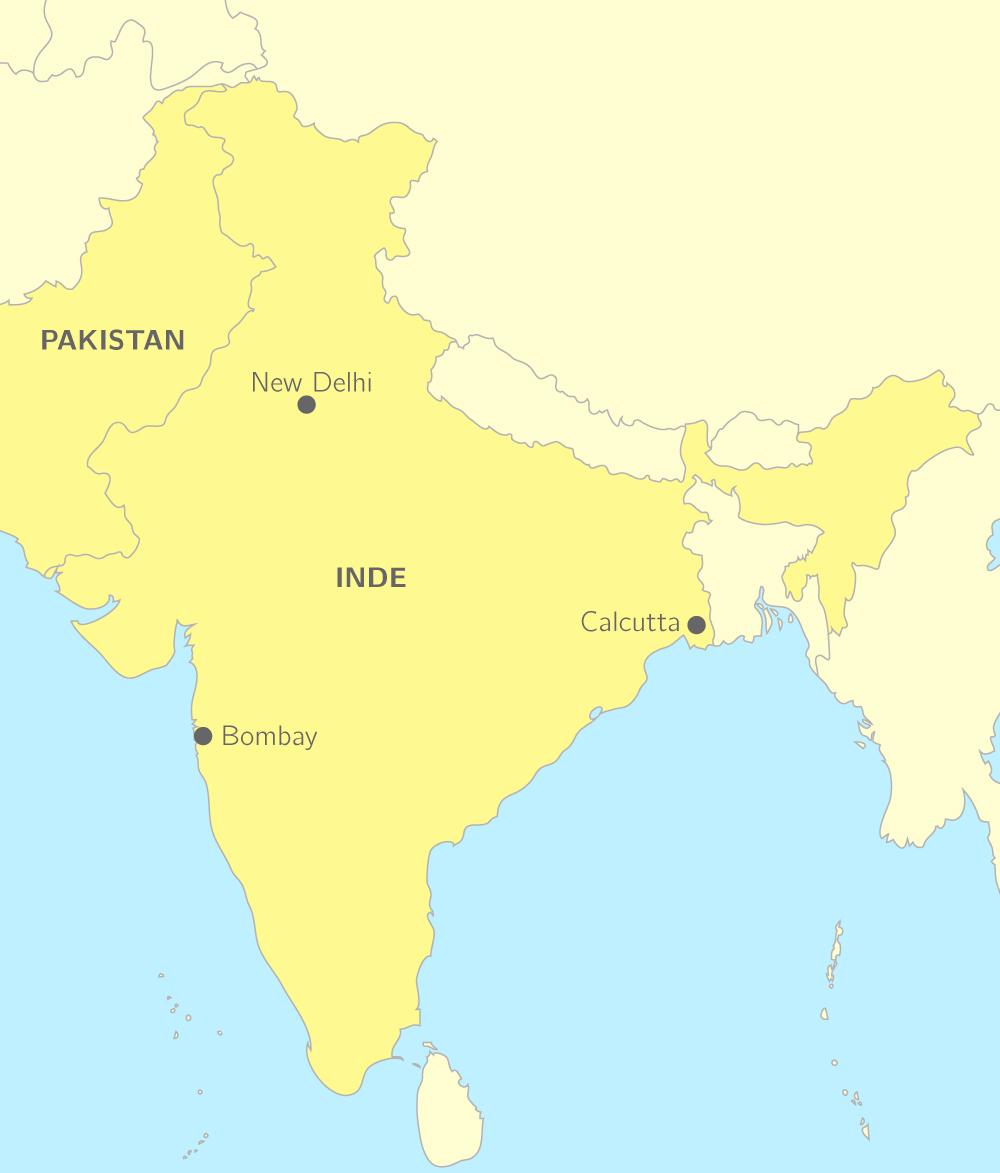Carte du continent indien