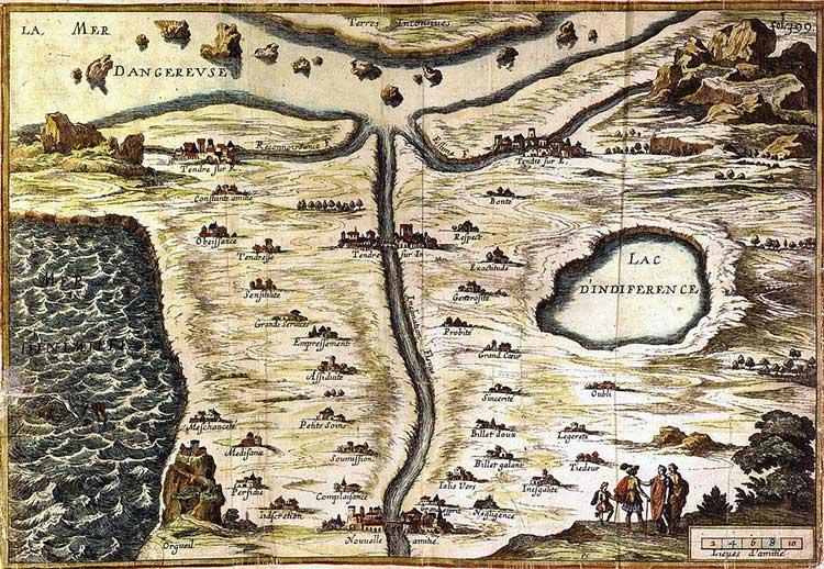"""""""Carte de Tendre ou Carte du pays de Tendre"""", Mademoiselle de Scudéry, XVIIe siècle"""