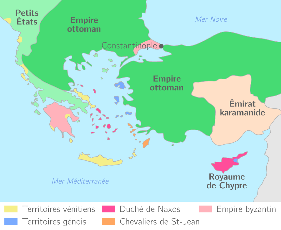 L'Empire byzantin en 1450