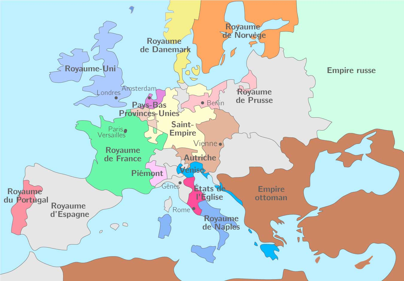 Les puissances européennes au début du XVIIIe siècle