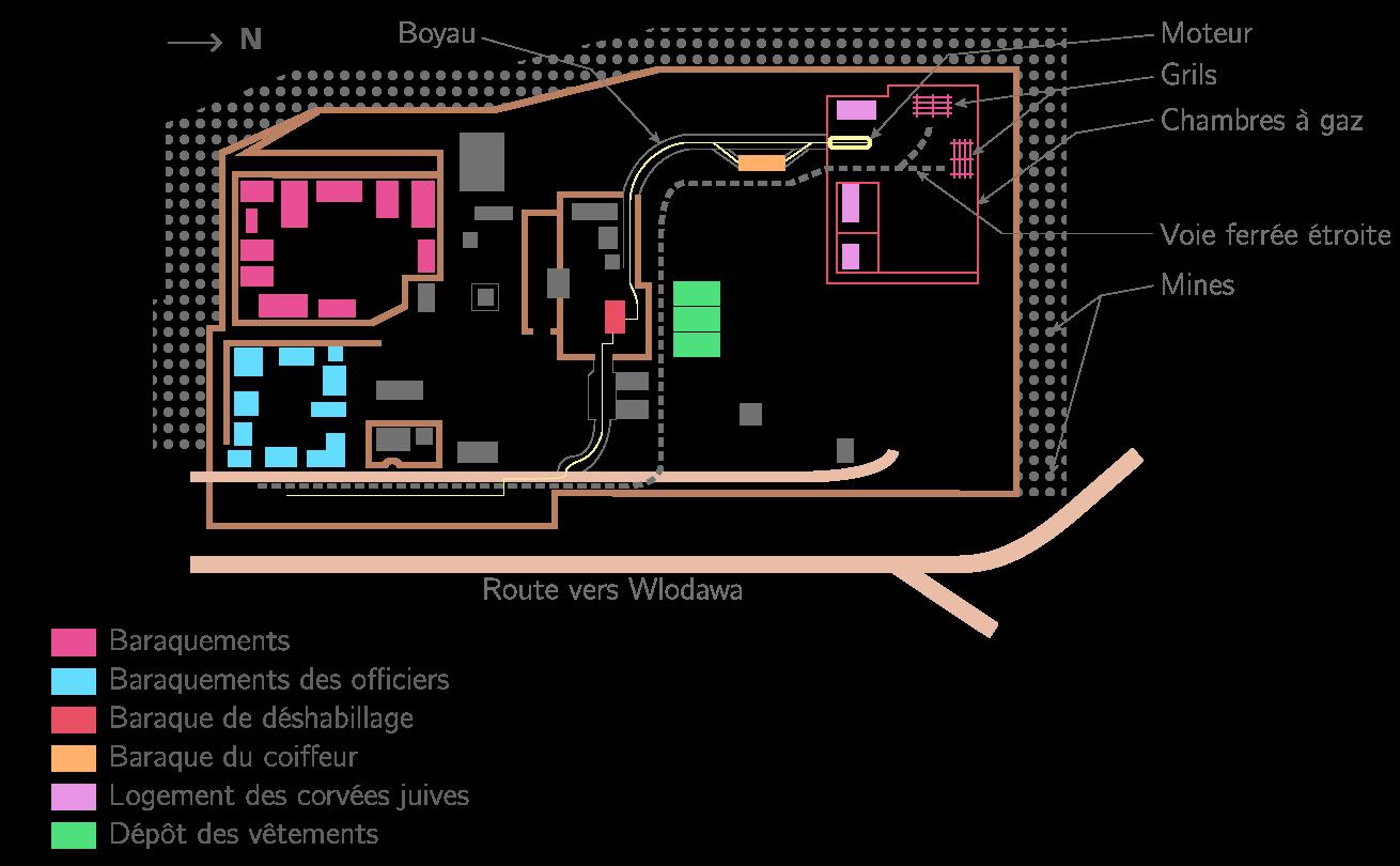 Plan du camp d'extermination de Sobibor