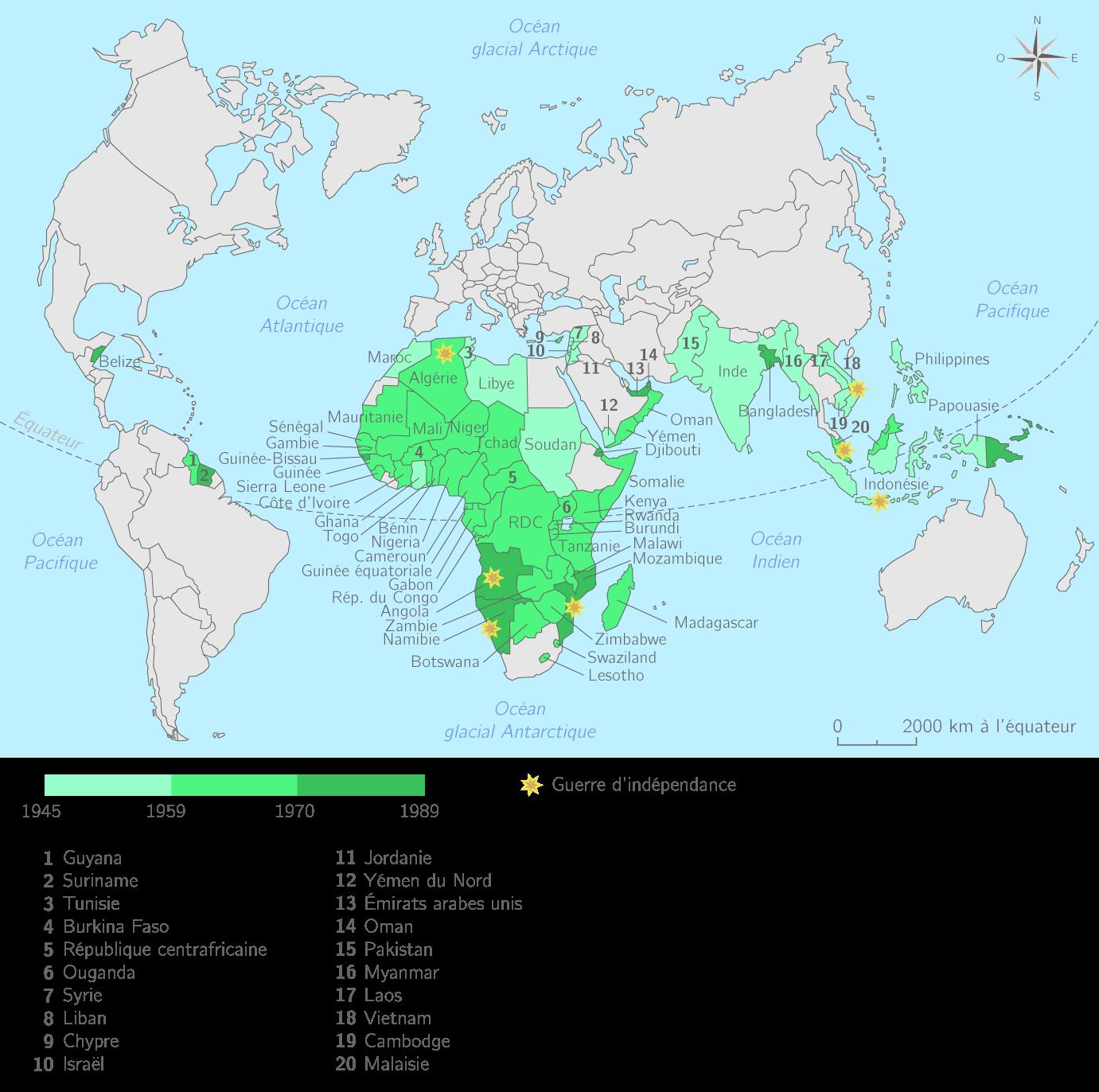 La décolonisation dans le monde