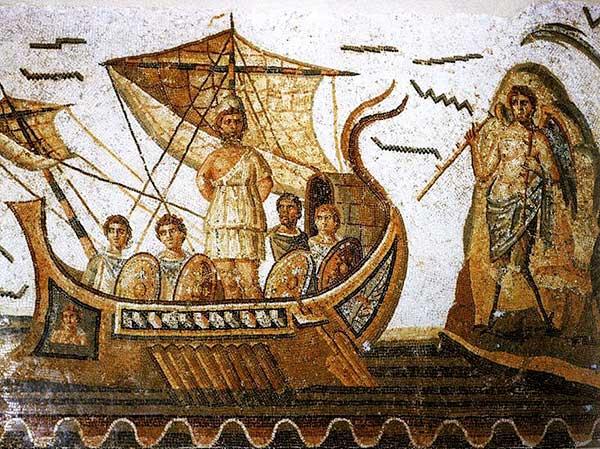 Mosaïque représentant Ulysse et les sirènes dans l'Odyssée