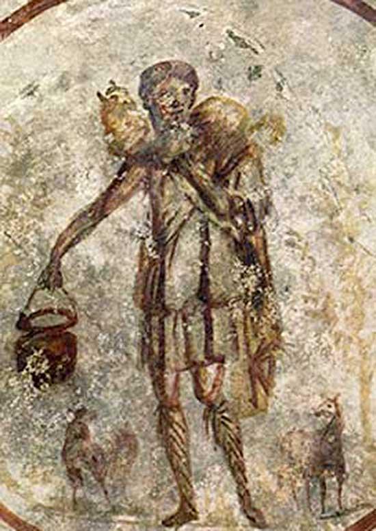 Jésus représenté sur une fresque du IIIe siècle