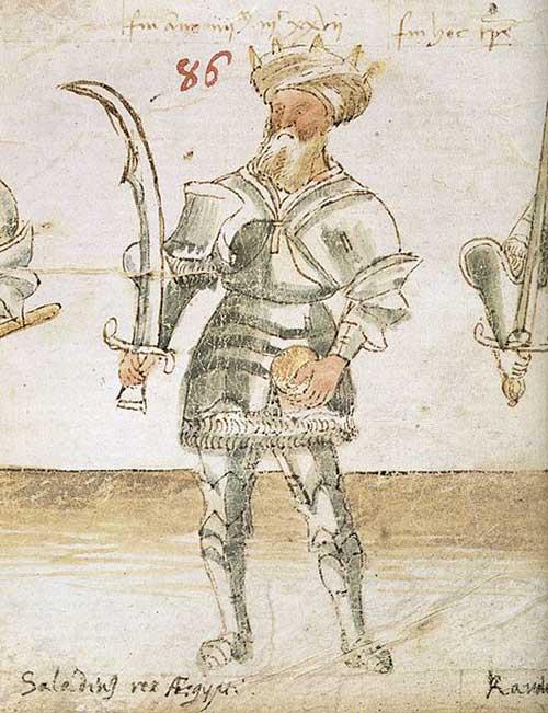 Saladin représenté sur un manuscrit