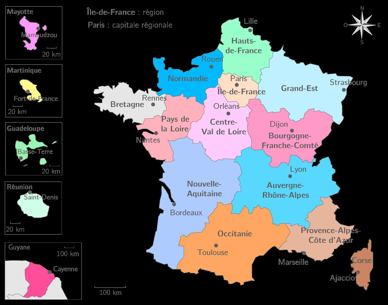 Les régions françaises et leurs capitales