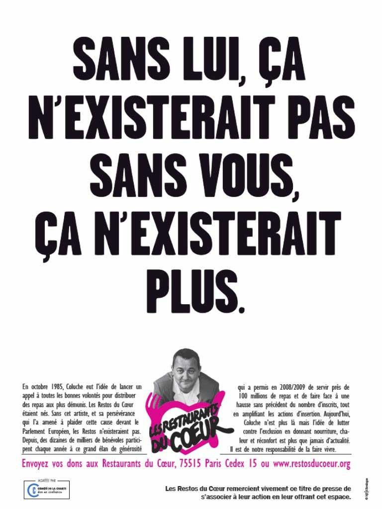 """Affiche de l'association """"Les Restos du cœur"""", fondée par Coluche"""