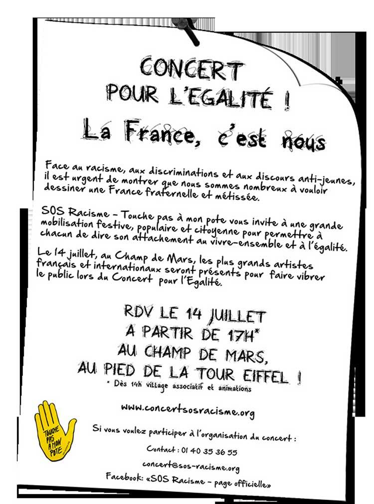 Affiche de l'association SOS racisme pour l'organisation d'un concert