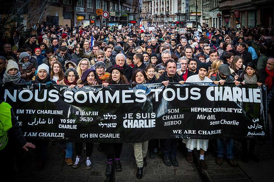 Manifestation en soutien aux victimes des attentats contre le journal Charlie Hebdo à Strasbourg (11 janvier 2015)
