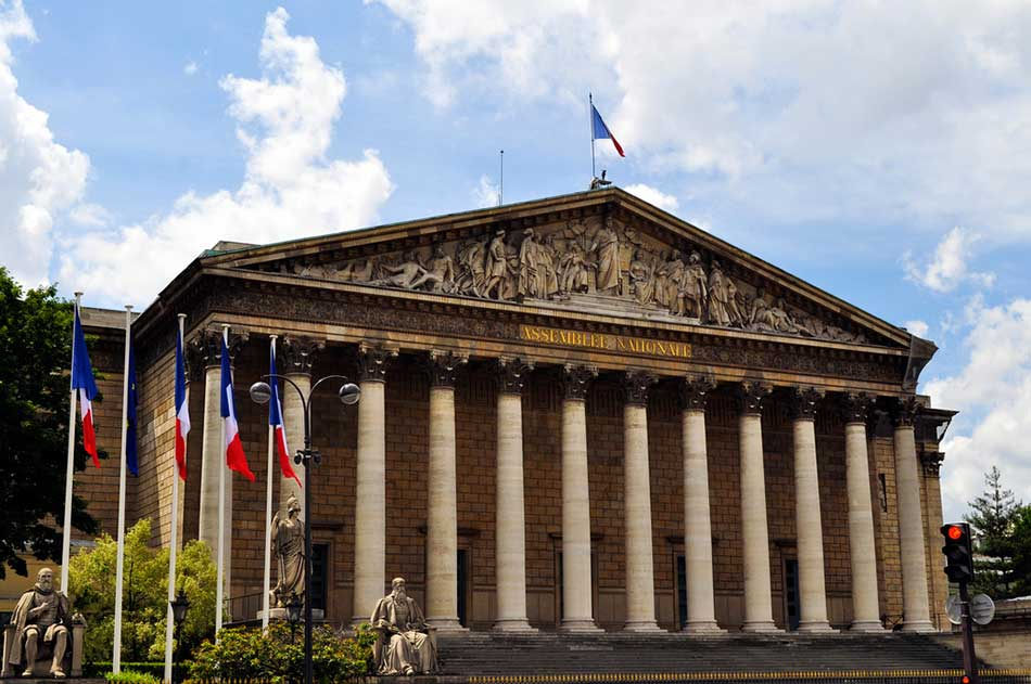 Le palais Bourbon, siège de l'Assemblée nationale, Paris