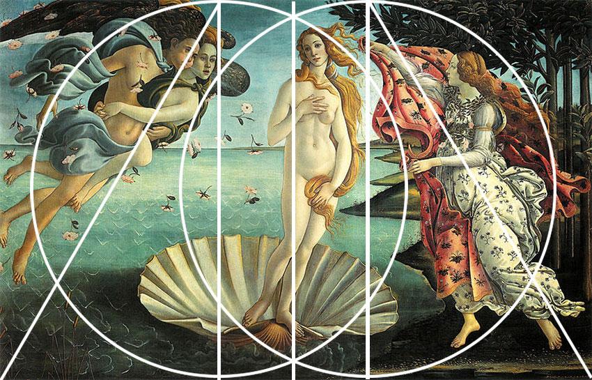 La Naissance de Vénus de Botticelli et le nombre d'or