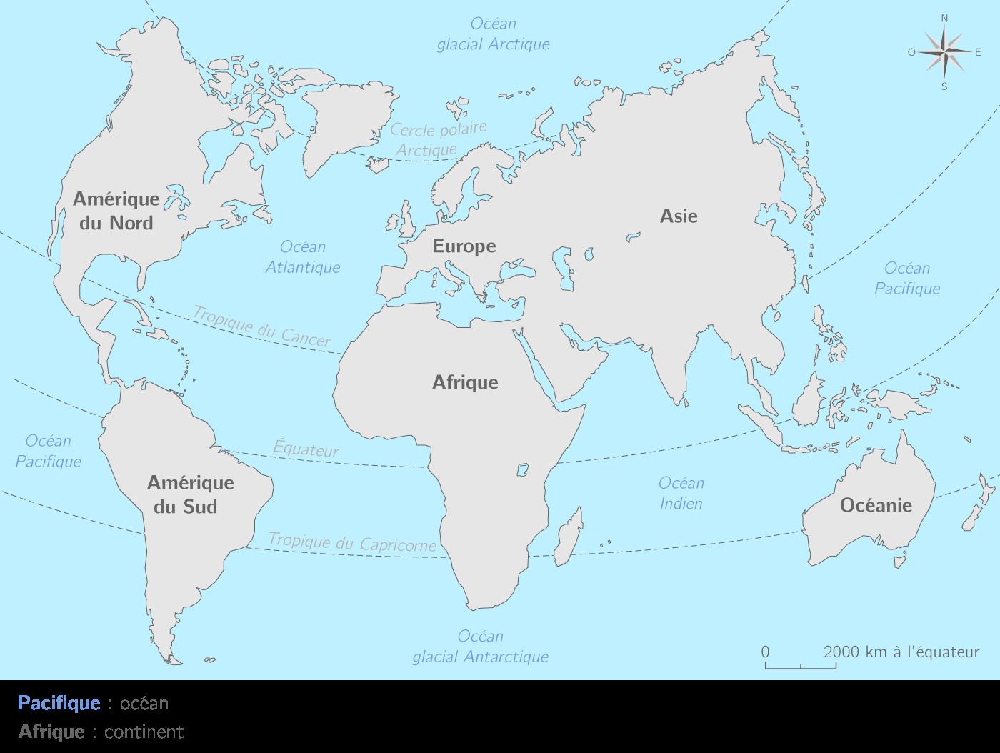 carte des continents et océans Les continents et les océans   TL   Carte Géographie   Kartable