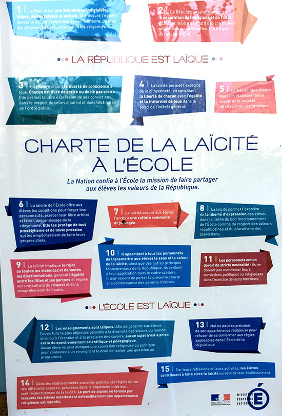 Affiche de la Charte de la laïcité à l'École