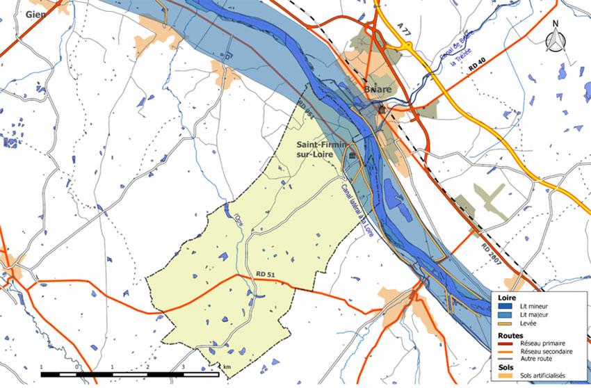 Carte des zones inondables issue du PPRN de la commune de Saint-Firmin-sur-Loire (Loiret)