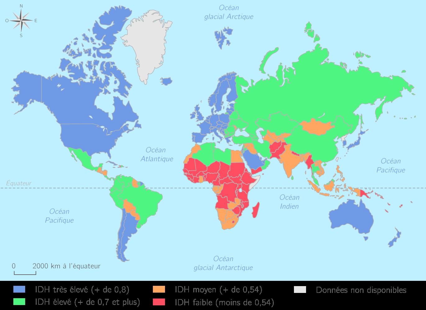 L'IDH dans le monde en 2014