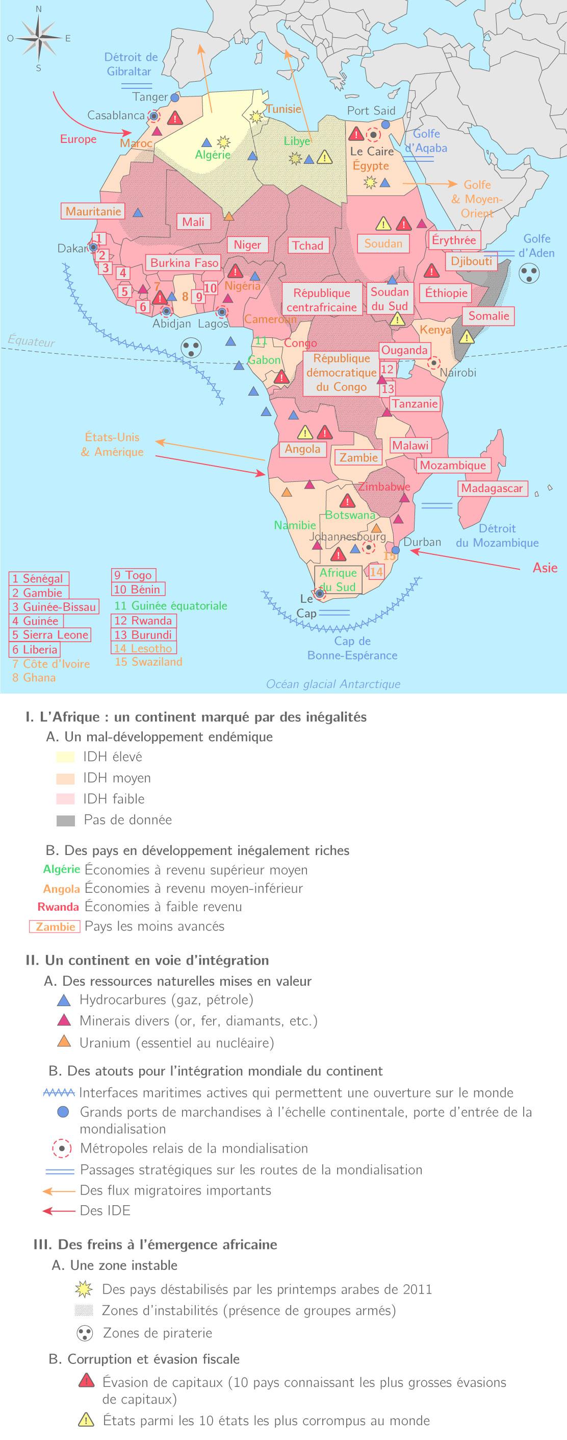 le continent africain face au développement et à la mondialisation carte Le continent africain face au développement et à la mondialisation