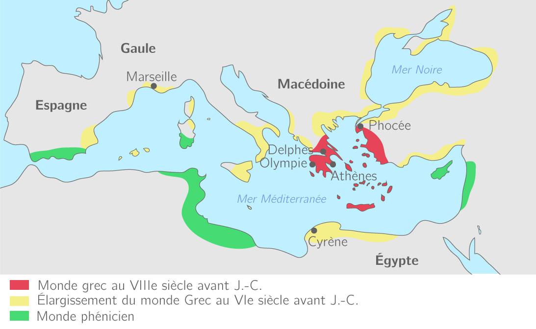 Le monde grec à la fin du VIIIe siècle avant J.-C.