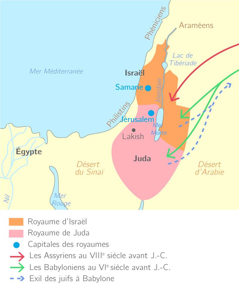 Les royaumes hébreux du VIIIe siècle au VIe siècle avant J.-C.