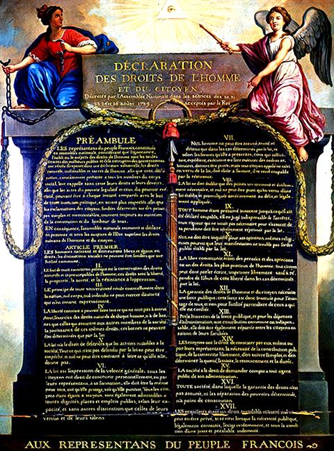 Déclaration des droits de l'homme et du citoyen, 1789.