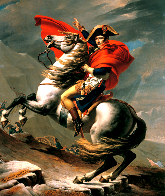 Jacques-Louis David, Bonaparte franchissant le Grand-Saint-Bernard, 1803.