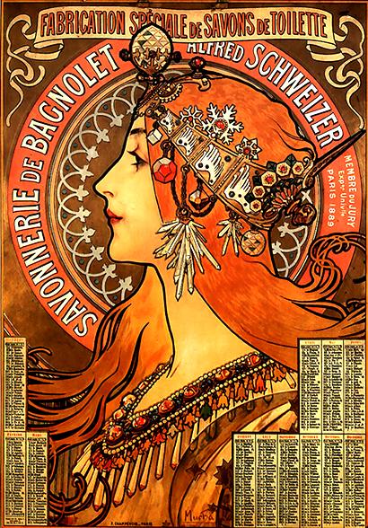 Affiche publicitaire de Mucha, XIXe siècle