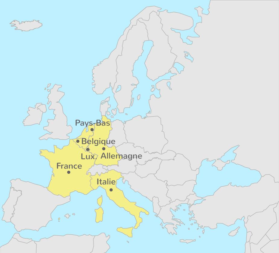 Les membres de l'Union européenne en 1957