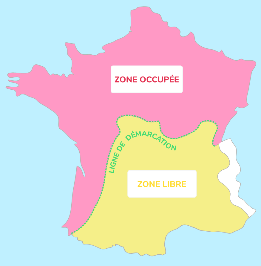 Carte de la France occupée