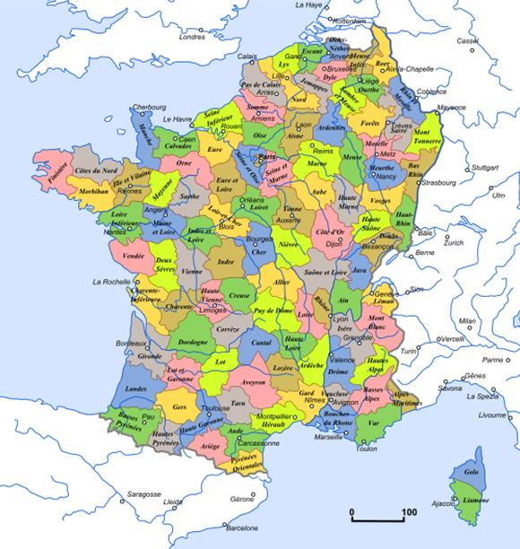 Carte des départements français