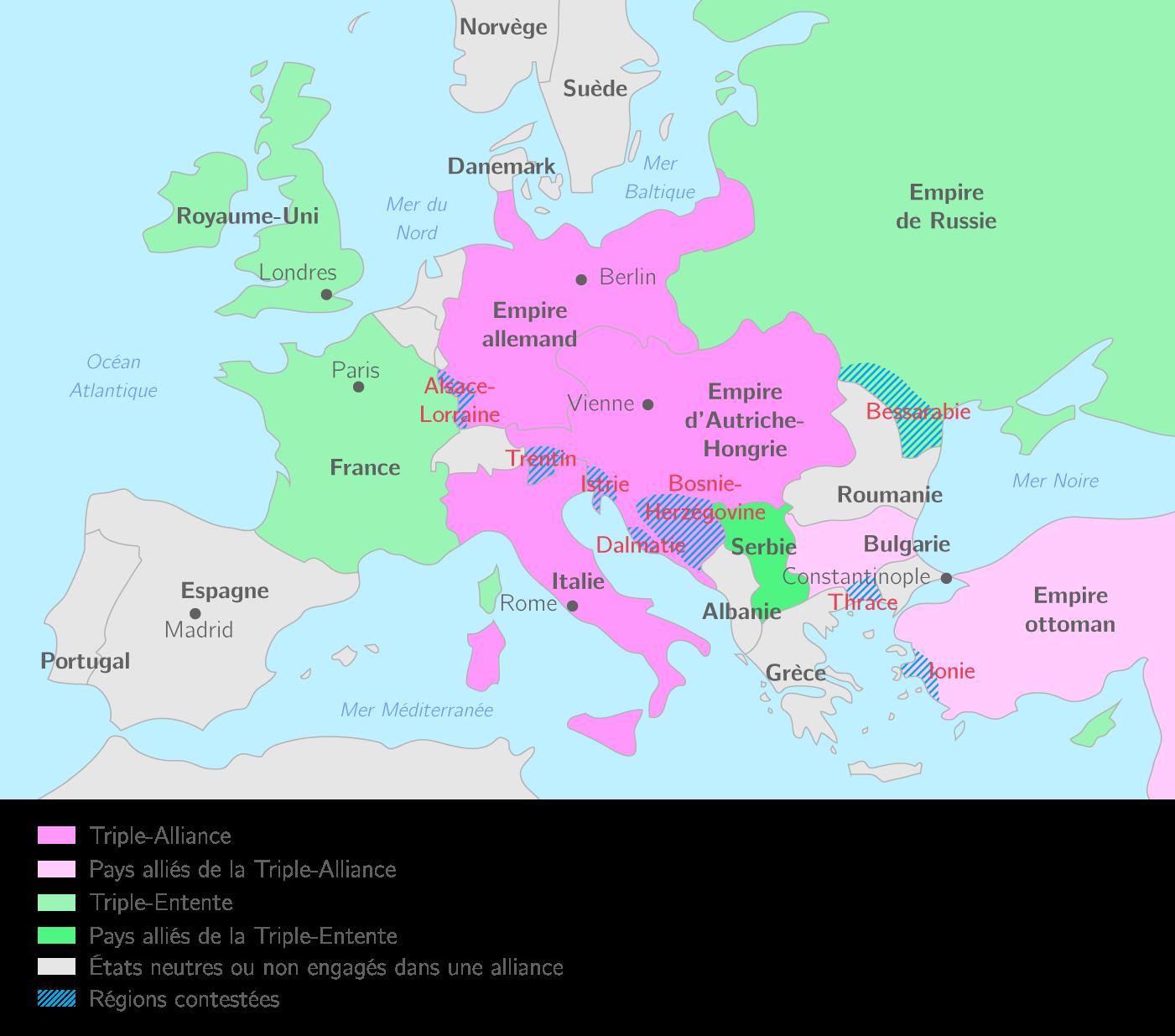 Les alliances européennes en 1914