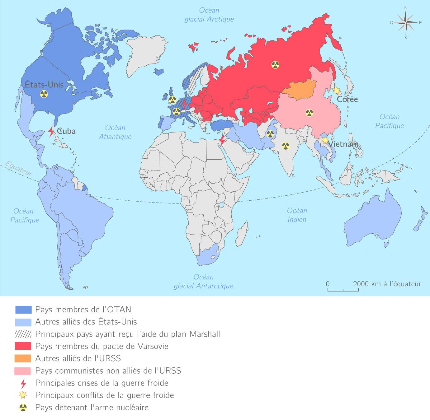 Carte Du Monde Pendant La Guerre Froide.Un Monde Bipolaire Au Temps De La Guerre Froide 3e Cours