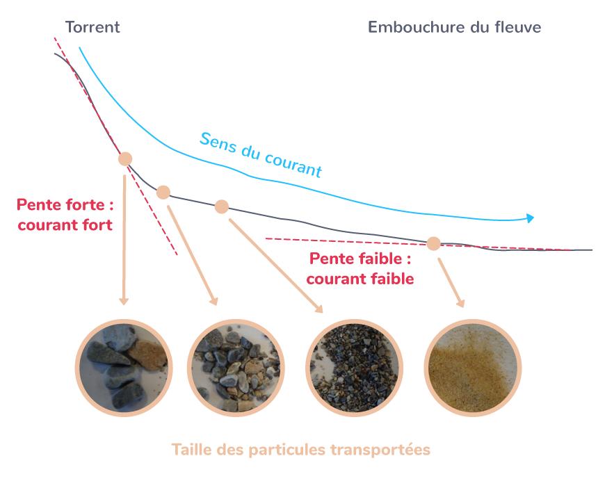 Transport des particules détritiques selon leur taille