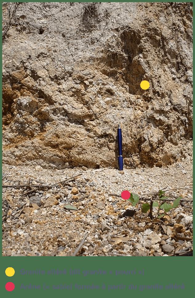 Altération du granite