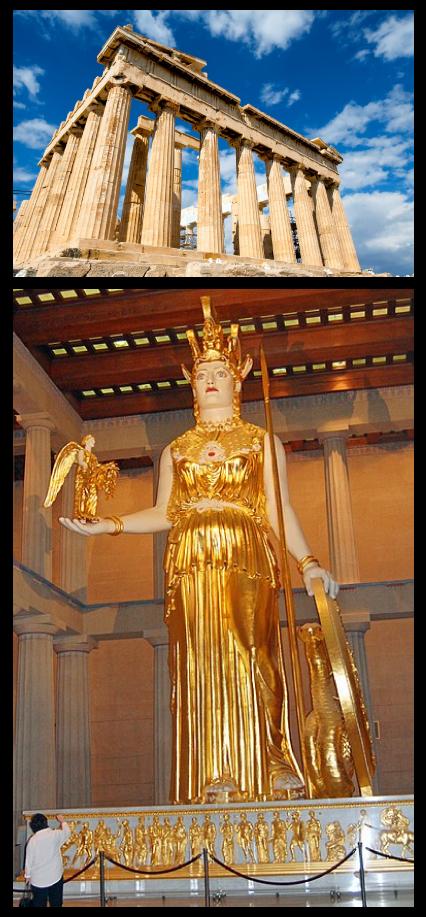 Le Parthénon et la statue d'Athéna