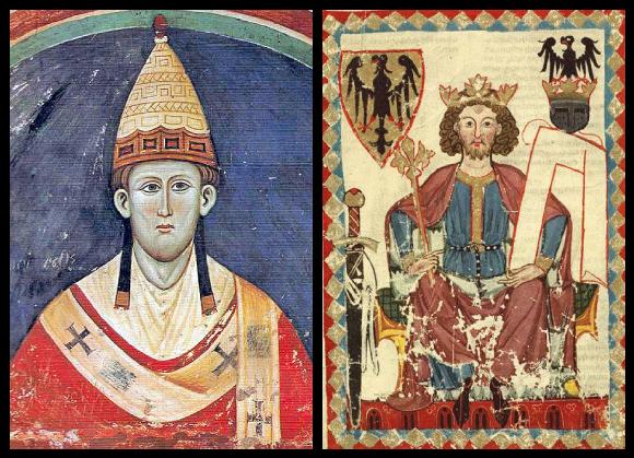 La pape Innocent III et l'empereur Frédéric Ier