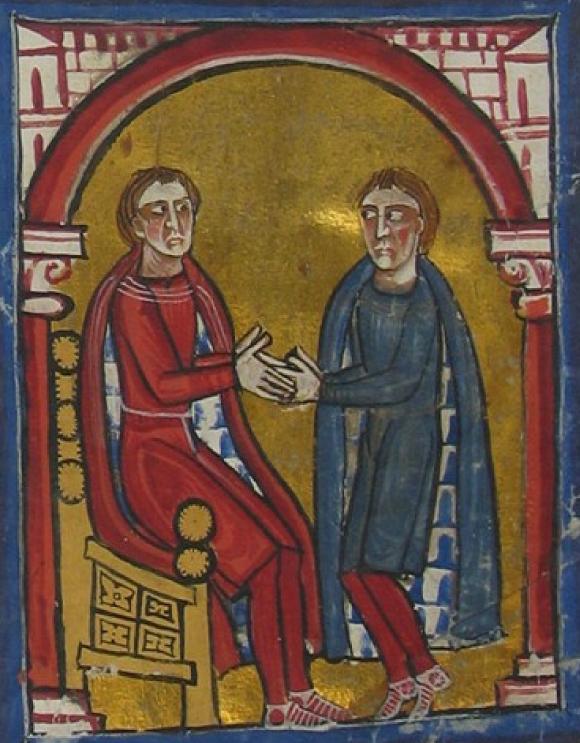 La cérémonie de l'hommage sur une enluminure du XIIIe siècle