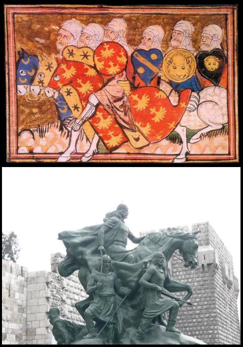 Les cavaliers musulmans de Saladin. Statue de Saladin réalisée à Damas en 1993.