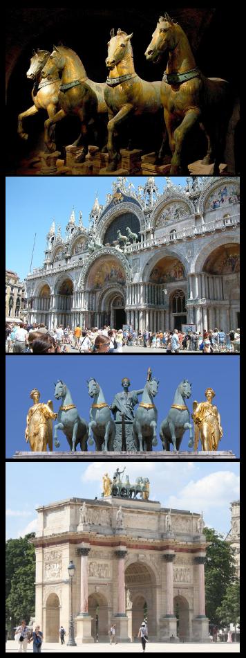 Le quadrige du musée de la basilique Saint-Marc de Venise et le quadrige sur l'arc de triomphe du Carrousel du Louvre à Paris