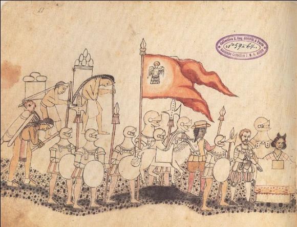 Cortès et l'accueil des Espagnols par les Aztèques