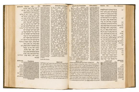 Bible d'Alcala (Espagne) traduite et annotéeen hébreu, en araméen, en grec et en latin, imprimée par l'imprimeur à Anvers vers1560