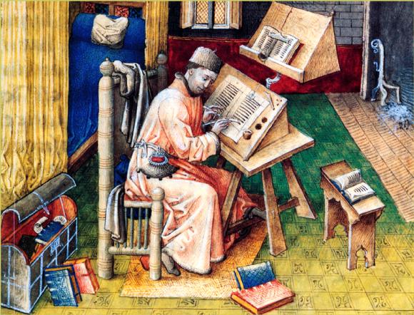 Un moine copiste au Moyen Âge