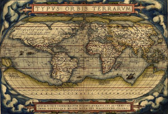 Planisphère du cartographe hollandais Abraham Ortelius de 1570