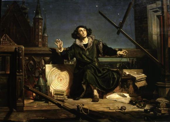Nicolas Copernic observant le ciel