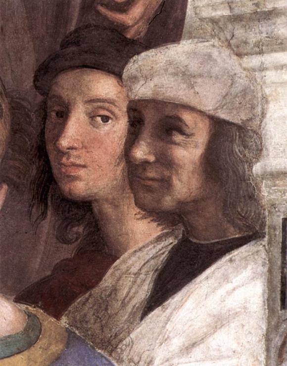 Autoportrait de Raphaël sur la fresque L'École d'Athènes