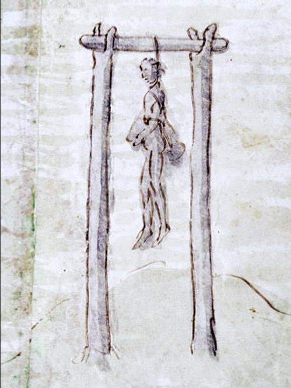 Exemple de potence à deux piliers au XVIIIe siècle