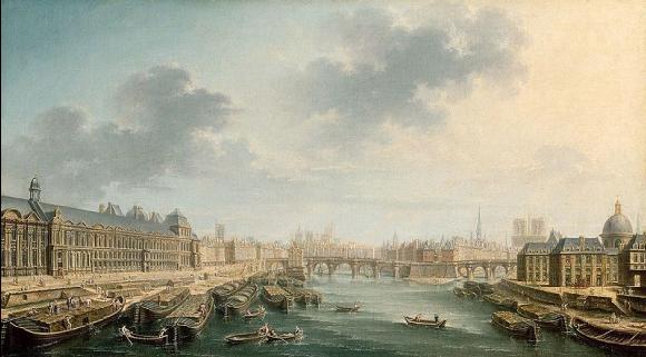 La Seine en aval du Pont Neuf à Paris, avec, à gauche, le Louvre et, à droite, le collège des quatre-nations, Raguenet, 1754