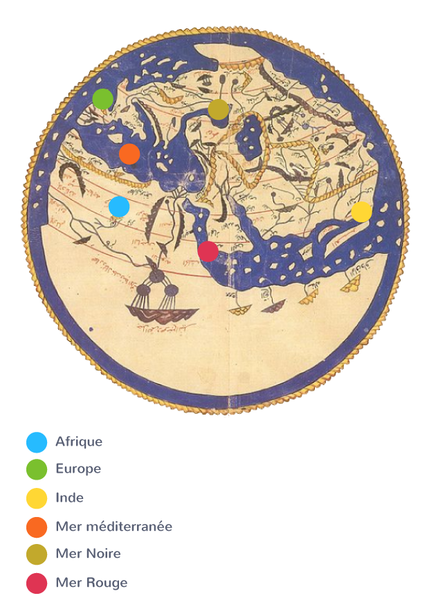 Le monde méditerranéen cartographiépar le géographe musulman Al-Idrisi au XIIe siècle