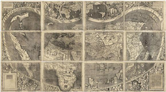 """Carte des """"Amériques"""",Waldseemüller, 1507"""