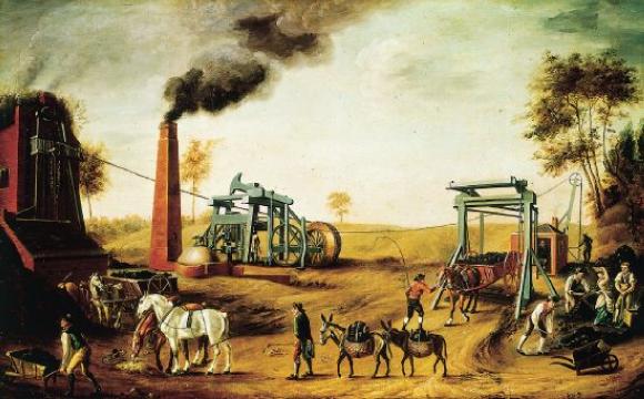 Mine de charbon à Pithead, en Angleterre, vers 1800